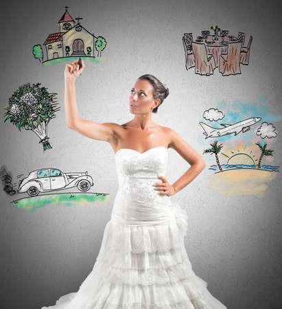 Photo pour A woman arranges her marriage with a draft project - image libre de droit