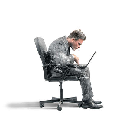 Photo for Concept of internet addiction with frozen businessman - Royalty Free Image