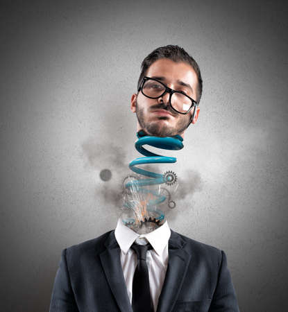 Foto de Concept of stress of a exhausted businessman at work - Imagen libre de derechos