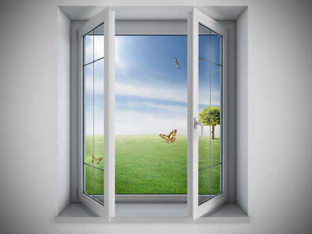 Foto de Opened window with a green field outdoor - Imagen libre de derechos
