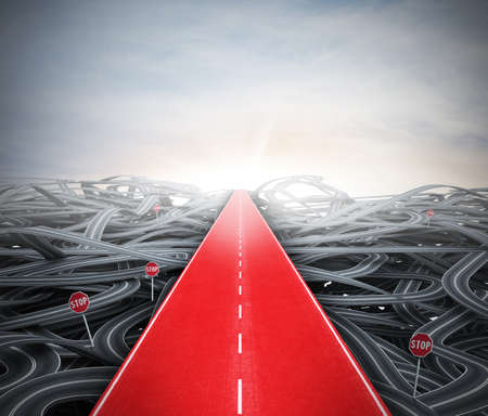 Photo for Red easy way to success over street confusion - Royalty Free Image