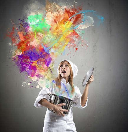 Foto de Chef prepares a magic in the kitchen - Imagen libre de derechos