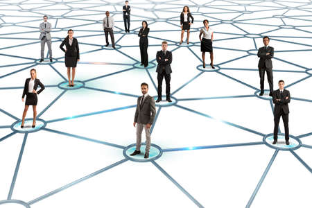 Photo pour Social network concept with a group of a businesspeople - image libre de droit