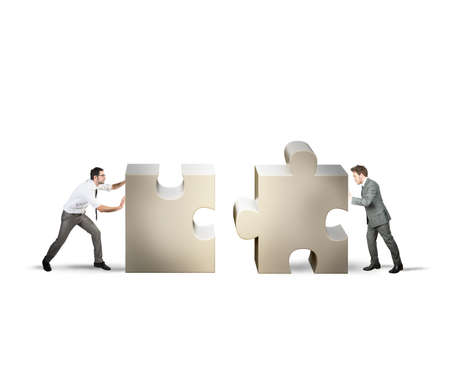 Photo pour Teamwork and partnership concept of two businessman - image libre de droit