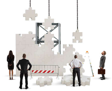 Foto de A team of businesspeople builds a new company - Imagen libre de derechos
