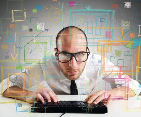 Foto de Businessman checking statistics and diagrams on pc - Imagen libre de derechos