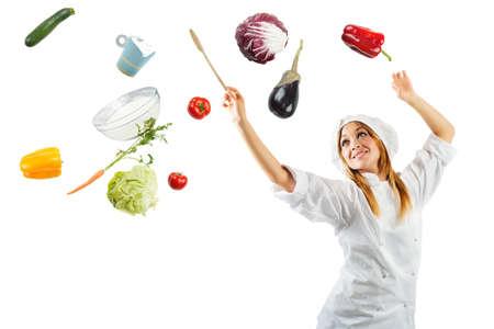Foto de Melody in cooking with a beautiful chef - Imagen libre de derechos