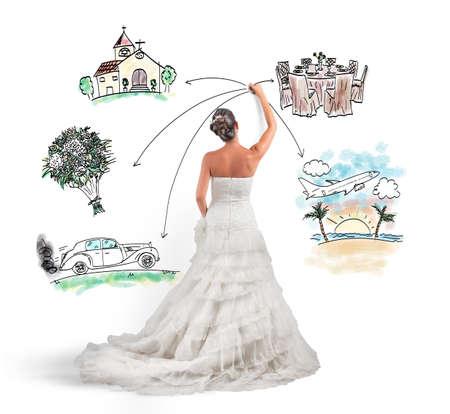Foto de A woman arranges her marriage with a draft project - Imagen libre de derechos