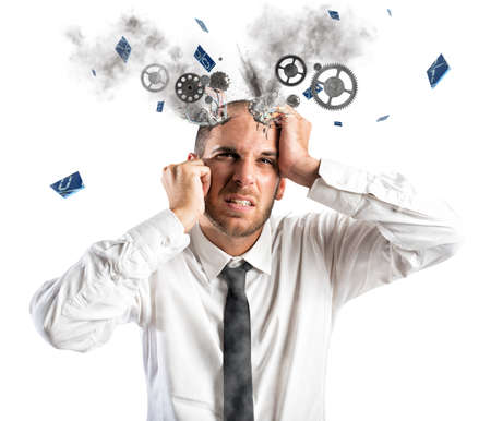 Photo for Stress explosion concept with exhausted businessman - Royalty Free Image