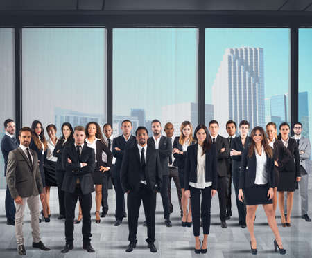Photo for Business team working together in a skyscraper - Royalty Free Image