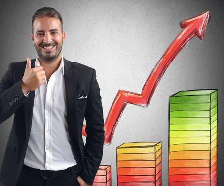 Foto de Businessman smiling achieved profits for its investments - Imagen libre de derechos