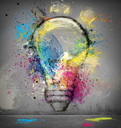 Photo pour Paint light bulb symbol of smart idea - image libre de droit