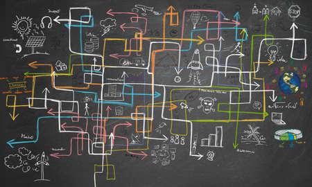 Photo pour Charts maze and graphs for energy saving - image libre de droit