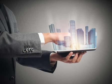 Photo pour Architect shows the projection of urban project - image libre de droit