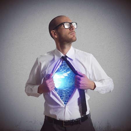 Foto de Businessman becomes a super hero of cyberspace - Imagen libre de derechos