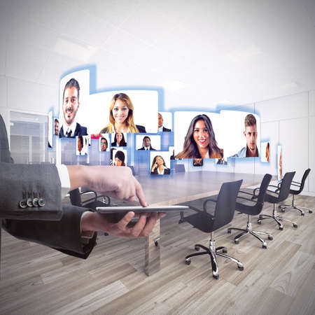 Foto per Business team talks about working in videoconference - Immagine Royalty Free