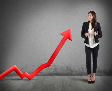Foto de Businesswoman proud of its good financial profit - Imagen libre de derechos