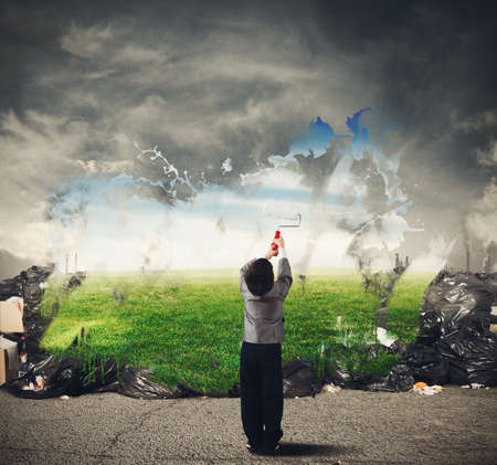 Photo pour Child with creativity cleans the natural environment - image libre de droit