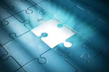 Photo pour Missing piece of the puzzle of success - image libre de droit