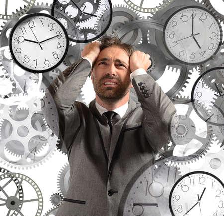 Photo pour Businessman overload appointments and with little time - image libre de droit