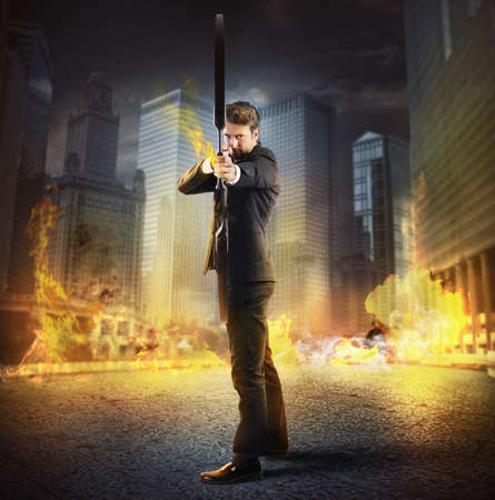 Photo for Businessman with bow and arrow on fire - Royalty Free Image