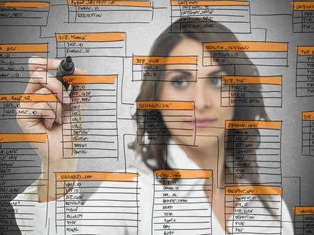 Foto de Businesswoman works on the database software development - Imagen libre de derechos