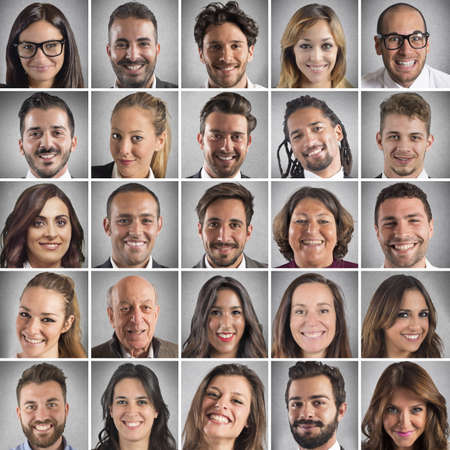 Photo pour Collage of portrait of many smiling faces - image libre de droit