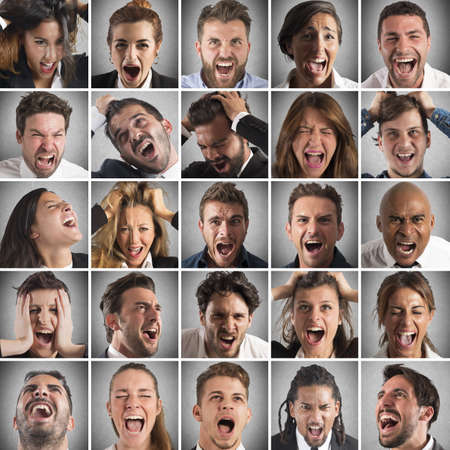 Foto de Portraits collage of people faces who scream - Imagen libre de derechos