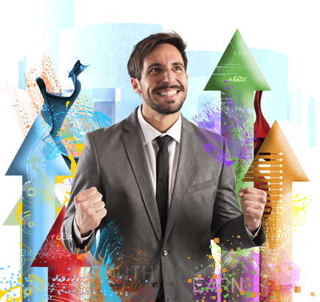 Photo pour Happy businessman rejoices to his financial Success - image libre de droit