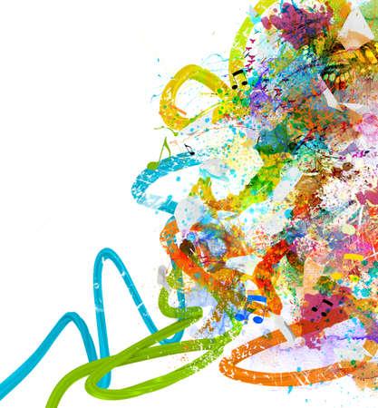 Foto de Music background with colorful sketches and notes - Imagen libre de derechos