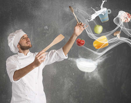 Foto per Chef creates a musical harmony with food - Immagine Royalty Free