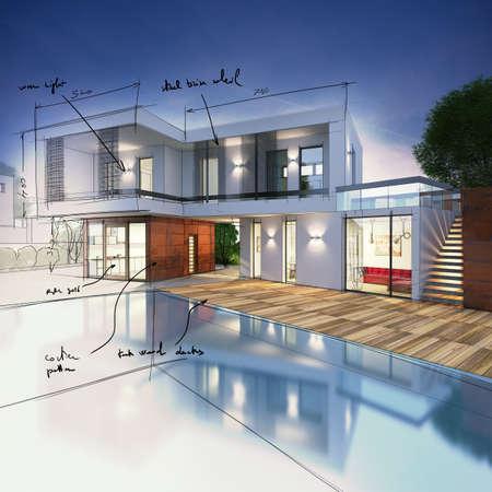 Foto de Project for a villa with notes drawn - Imagen libre de derechos