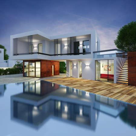 Photo pour Project of a luxury villa in 3d - image libre de droit