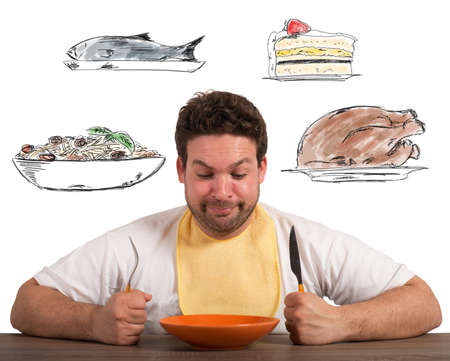 Photo pour Hungry man thinks about what to eat - image libre de droit