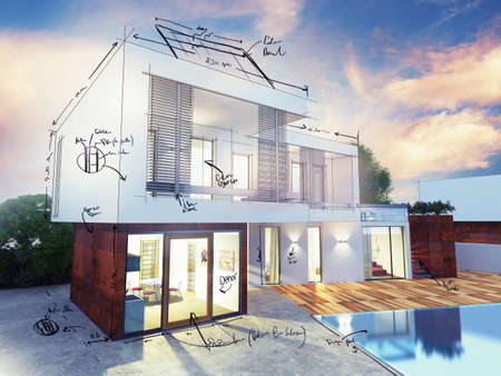 Photo pour Project of a luxury villa under construction - image libre de droit