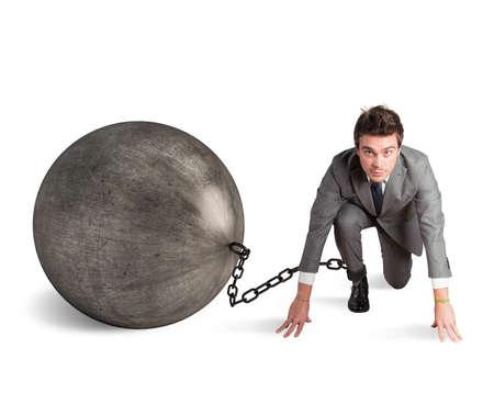 Photo pour Man stuck in a challenge by an obstacle - image libre de droit