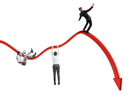 Photo for Businessmen falling down toward the economic crisis - Royalty Free Image