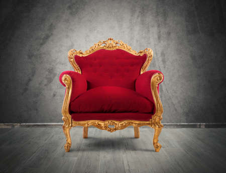Photo for Concept of luxury and success with red velvet and gold armchair - Royalty Free Image
