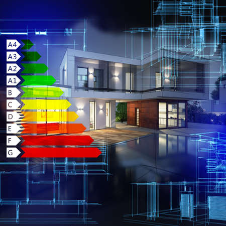 Photo for Image of a villa graph energy certification - Royalty Free Image