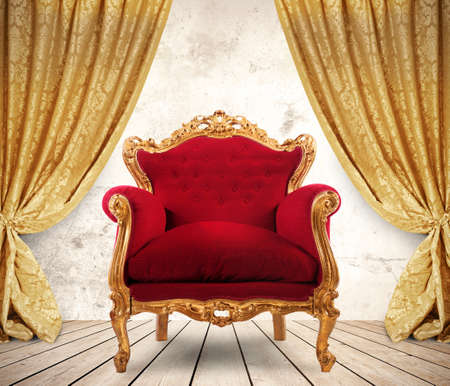 Photo for Room with golden curtains and royal armchair - Royalty Free Image