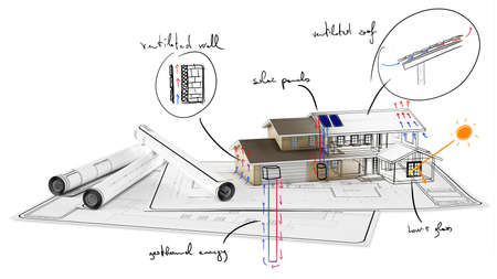 Photo pour Plan on paper of house under construction - image libre de droit