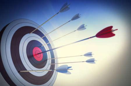 Foto de Target hit in the center by arrow - Imagen libre de derechos