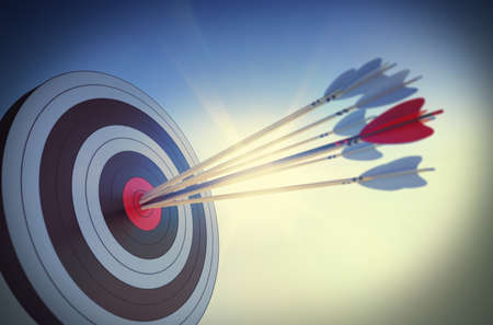 Photo for Target hit in the center by arrows - Royalty Free Image
