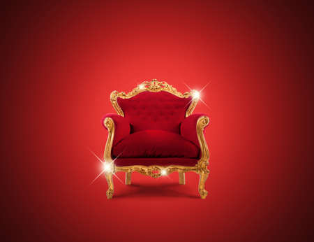 Photo pour Luxury sparkling golden armchair and red velvet - image libre de droit