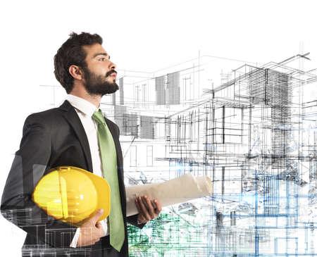 Photo pour Architect with helmet and roll construction project - image libre de droit