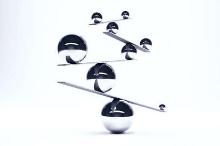 Foto de Iron balls in perfect balance on boards - Imagen libre de derechos