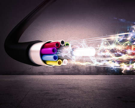 Foto de Image of an optical fiber with lights - Imagen libre de derechos