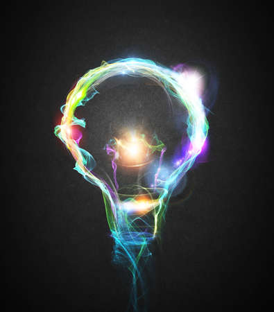 Foto de Light bulb drawn with colourful lighting effects - Imagen libre de derechos