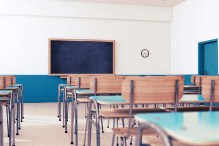 Photo pour Empty school classroom with desks and chairs - image libre de droit