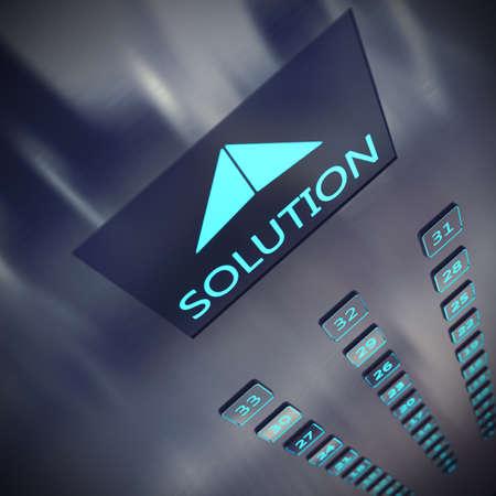 Foto de Image of an elevator with written solution - Imagen libre de derechos